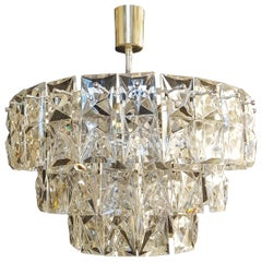 Chrome Crystal Glass Chandelier Lamp by Kinkeldey, Germany, 1970s