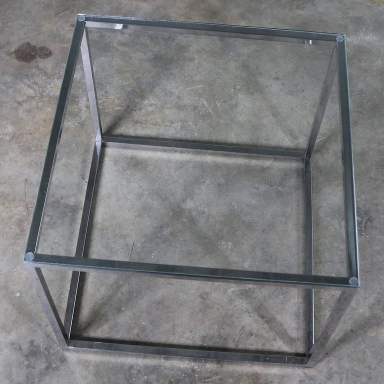 Chrome Cube End Table with Glass Top Manner of Milo Baughman For Sale 4