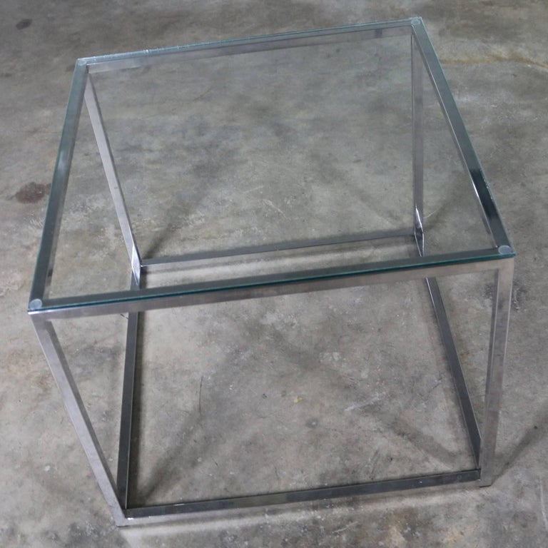 Chrome Cube End Table with Glass Top Manner of Milo Baughman For Sale 5