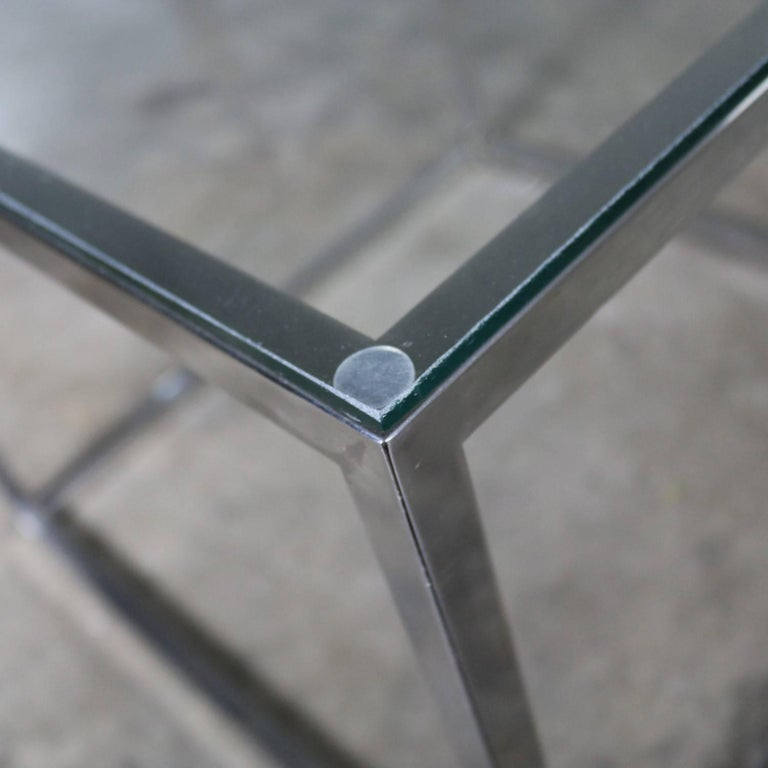 Chrome Cube End Table with Glass Top Manner of Milo Baughman For Sale 6