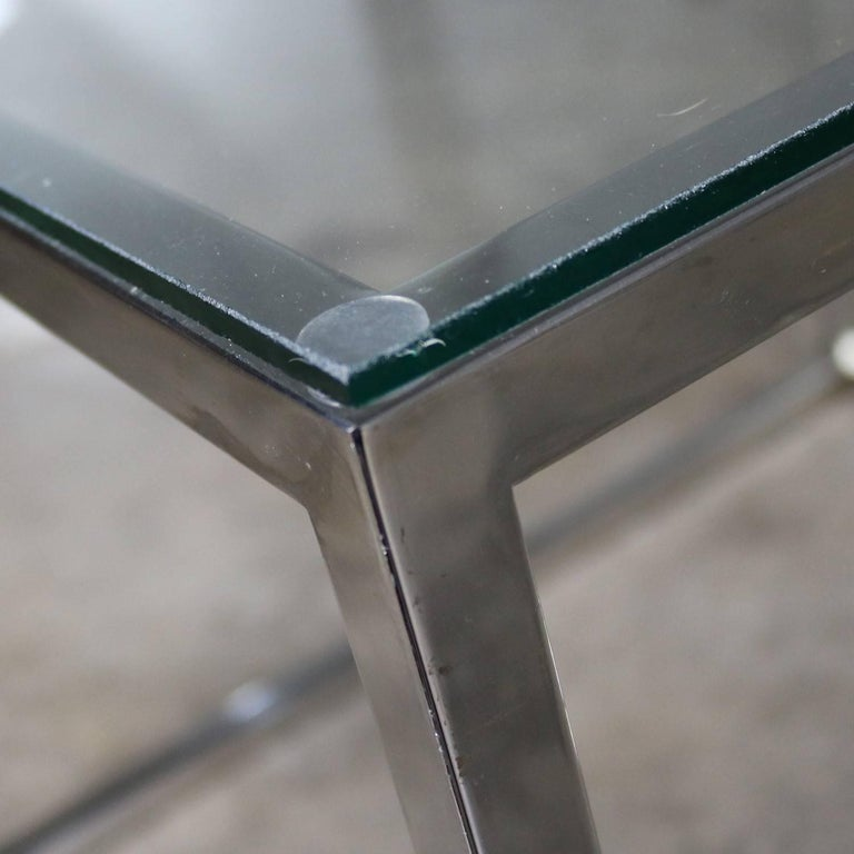 Chrome Cube End Table with Glass Top Manner of Milo Baughman For Sale 7
