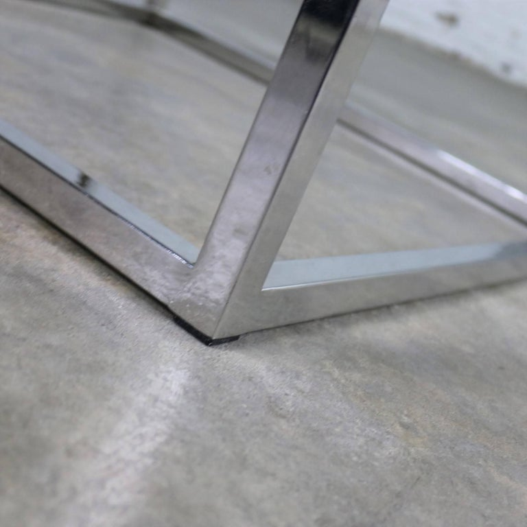 Chrome Cube End Table with Glass Top Manner of Milo Baughman For Sale 8