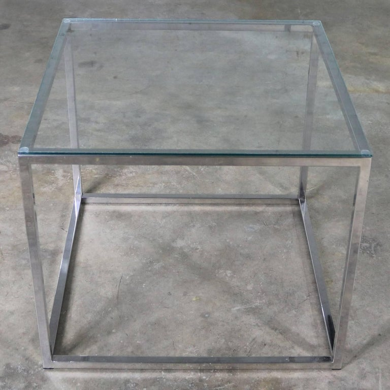 Late 20th Century Chrome Cube End Table with Glass Top Manner of Milo Baughman For Sale