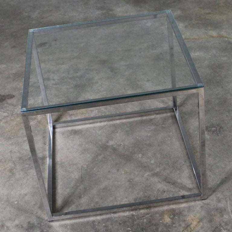 Chrome Cube End Table with Glass Top Manner of Milo Baughman For Sale 3