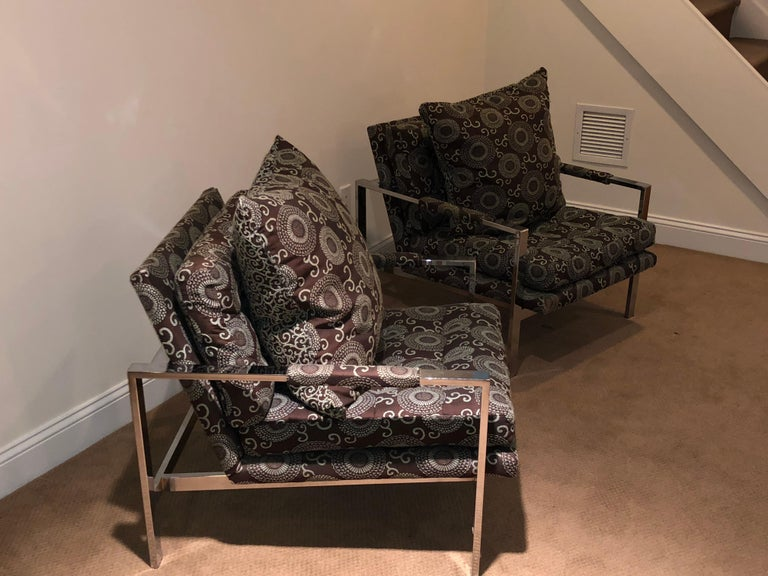 Mid-Century Modern Chrome Cube Lounge Chairs Attributed Milo Baughman For Sale