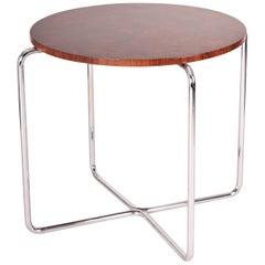 Chrome Czech Bauhaus Art Deco Walnut Table, Period 1930-1939