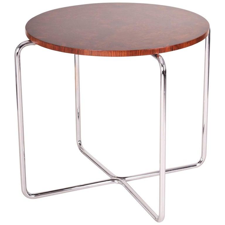 Deco Chrome Coffee Table: Chrome Czech Bauhaus Art Deco Walnut Table, Period 1930