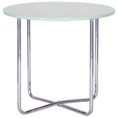 Chrome Czech Bauhaus Green Rounded Table, 1930s, Original Very Well Condition