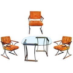 Chrome Dining Chair and Dining Table Set by Cleo Baldon