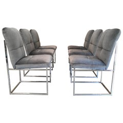 Chrome Dining Chairs in the Style of Milo Baughman