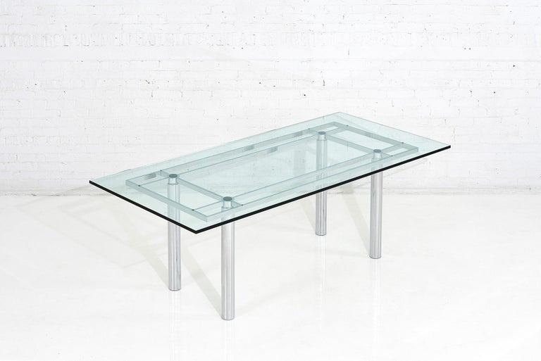Chrome dining table by Tobia Scarpa and made in Italy by Gavina, circa 1960s.