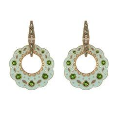 Chrome Diopside and Diamond Studded Enamel Earrings in 14 Karat Gold