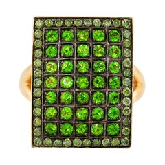 Chrome Diopside and Green Diamond Ring in 14 Karat Yellow Gold