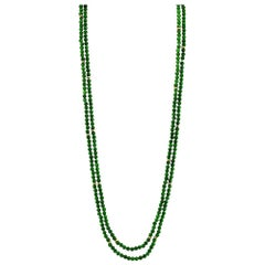 Chrome Diopside Double Strand Beaded Necklace w/ 14k Yellow Gold Accents & Clasp