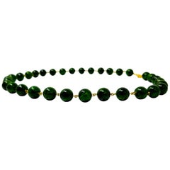 Chrome Diopside, Tsavorite Garnet, and 18 Karat Beaded and Linked Necklace