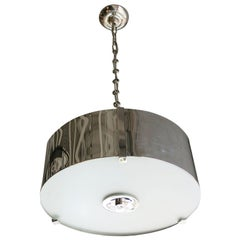 Chrome Drum Chandelier with Frosted Glass Shade