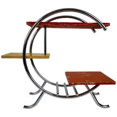 Chrome Etagere with Coral, Yellow and Red Painted Shelves in Bauhaus Style