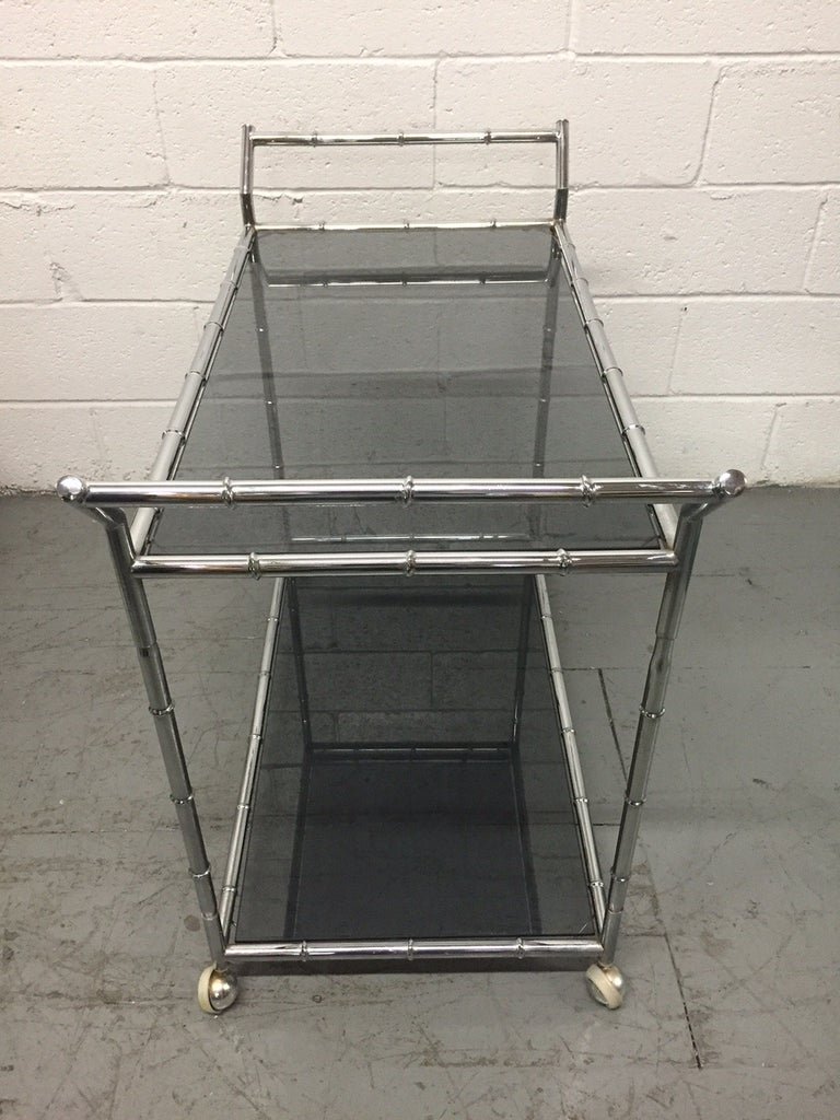Mid-Century Modern Chrome Faux Bamboo Bar Cart For Sale