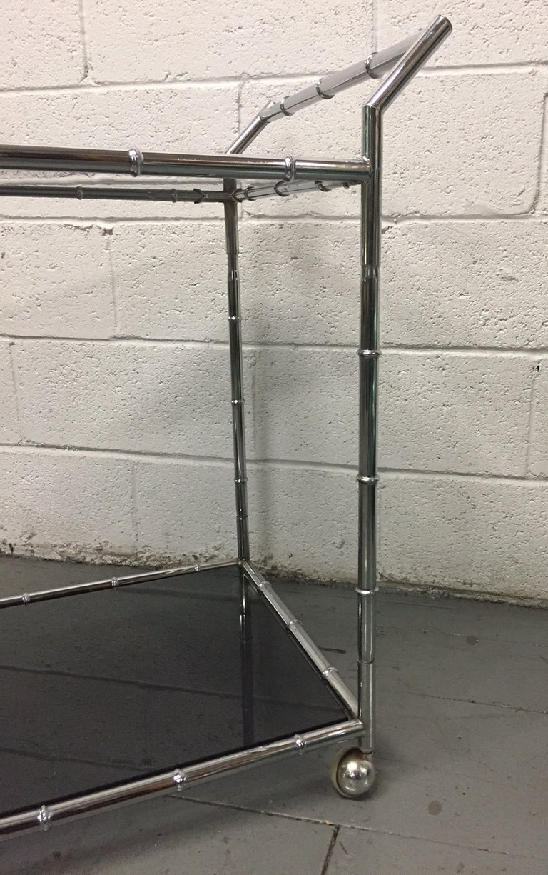 Chrome Faux Bamboo Bar Cart In Good Condition For Sale In New York, NY
