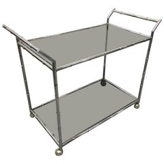 Chrome Faux Bamboo Bar Cart