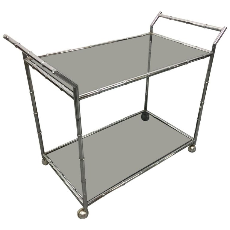 Chrome Faux Bamboo Bar Cart For Sale