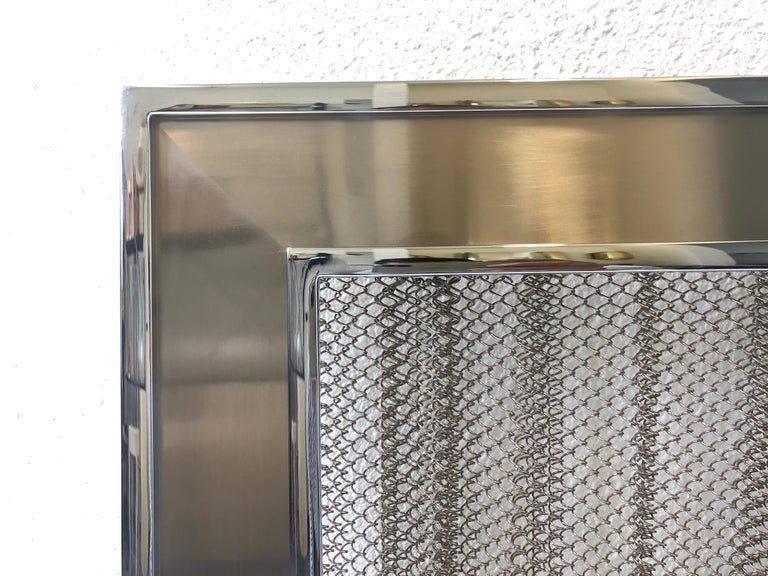 Chrome Fireplace Tool, Andirons and Fire-Screen by Maison Charles For Sale 8