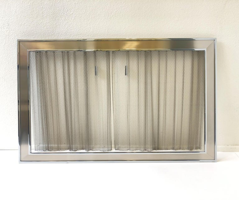 Chrome Fireplace Tool, Andirons and Fire-Screen by Maison Charles For Sale 9