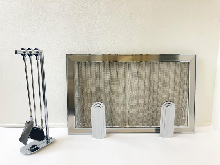 Chrome Fireplace Tool, Andirons and Fire-Screen by Maison Charles For Sale 10