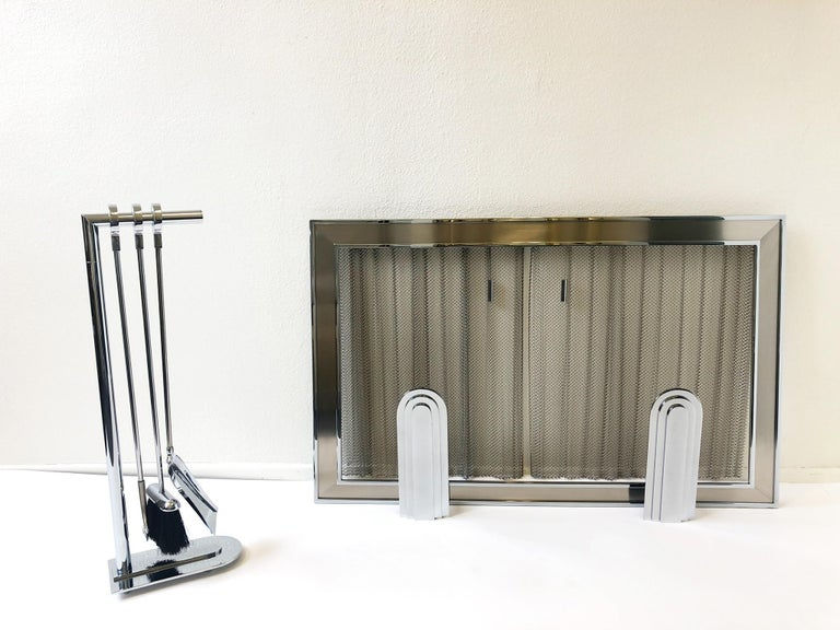Modern Chrome Fireplace Tool, Andirons and Fire-Screen by Maison Charles For Sale