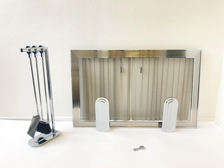 French Chrome Fireplace Tool, Andirons and Fire-Screen by Maison Charles For Sale