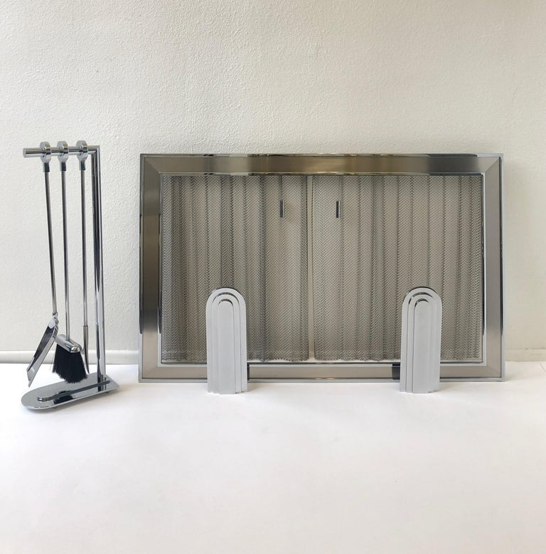 Polished Chrome Fireplace Tool, Andirons and Fire-Screen by Maison Charles For Sale