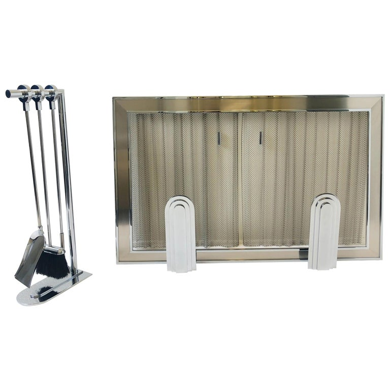 Chrome Fireplace Tool, Andirons and Fire-Screen by Maison Charles For Sale