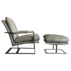 Chrome Flat Bar 1970s Lounge Chair and Ottoman in Silver Grey Metallic Leather