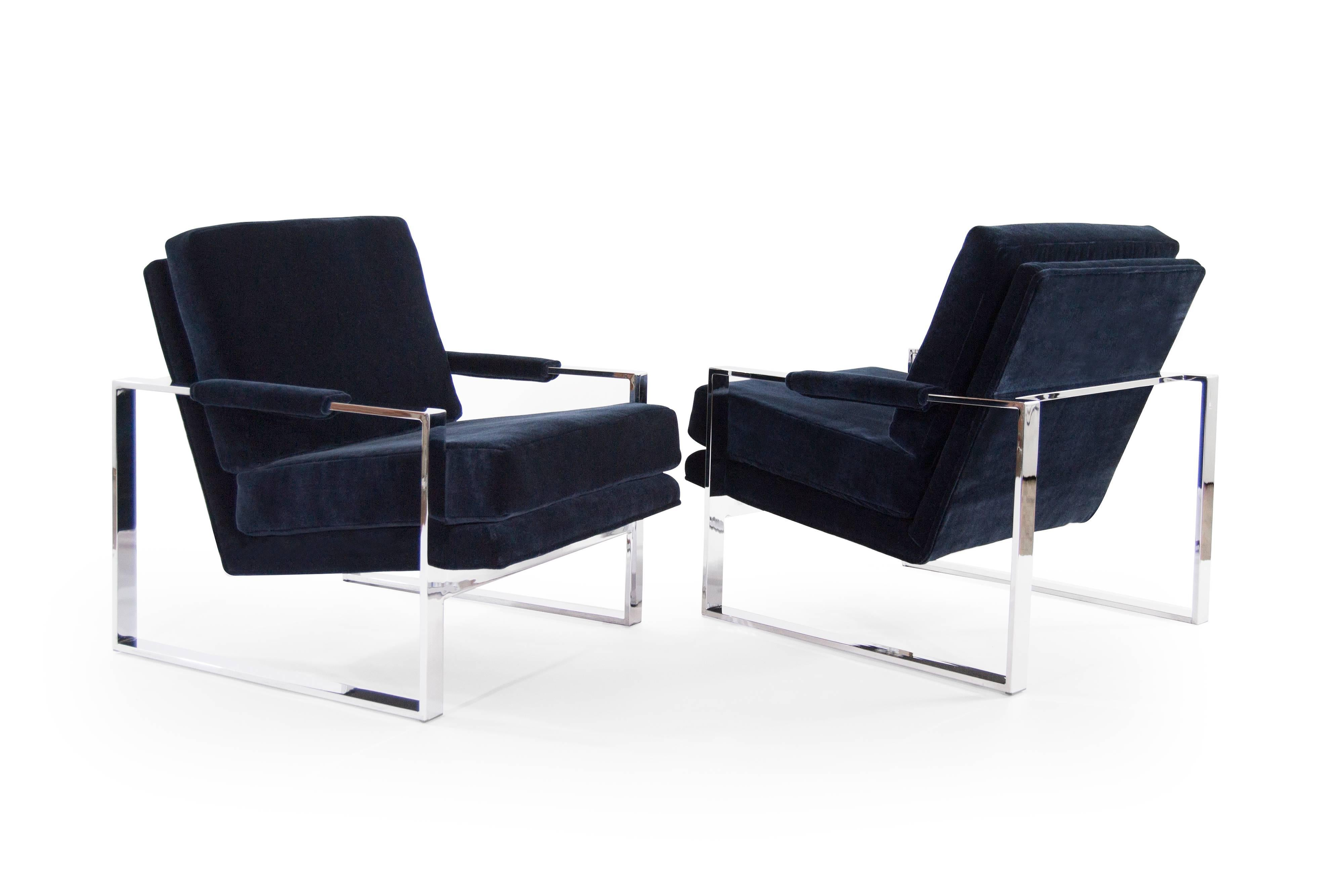 Chrome Flat Bar Lounge Chairs By Milo Baughman For Sale At 1stdibs