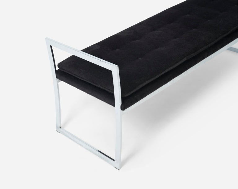 Mid-Century Modern Chrome Frame Bench with Arms by Milo Baughman For Sale