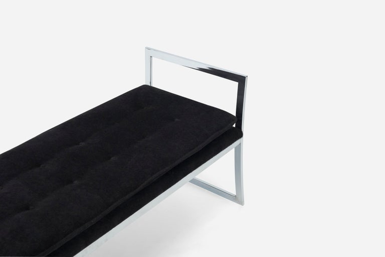 American Chrome Frame Bench with Arms by Milo Baughman For Sale