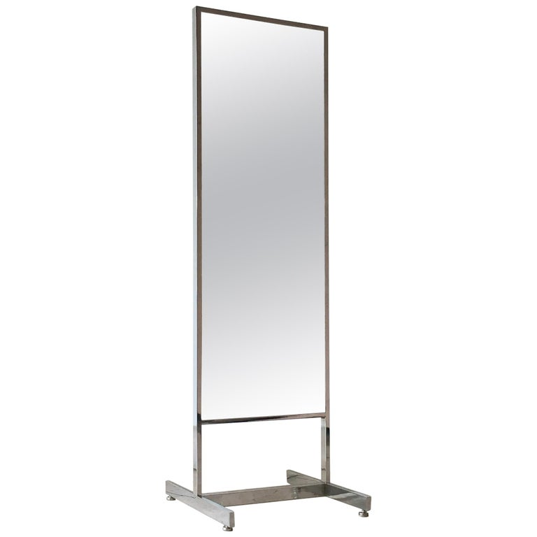 Chrome Framed Floor Standing Mirror, 1970s For Sale At 1stdibs