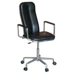 Chrome Framed Frederick Scott Hille International Black Leather Office Armchair