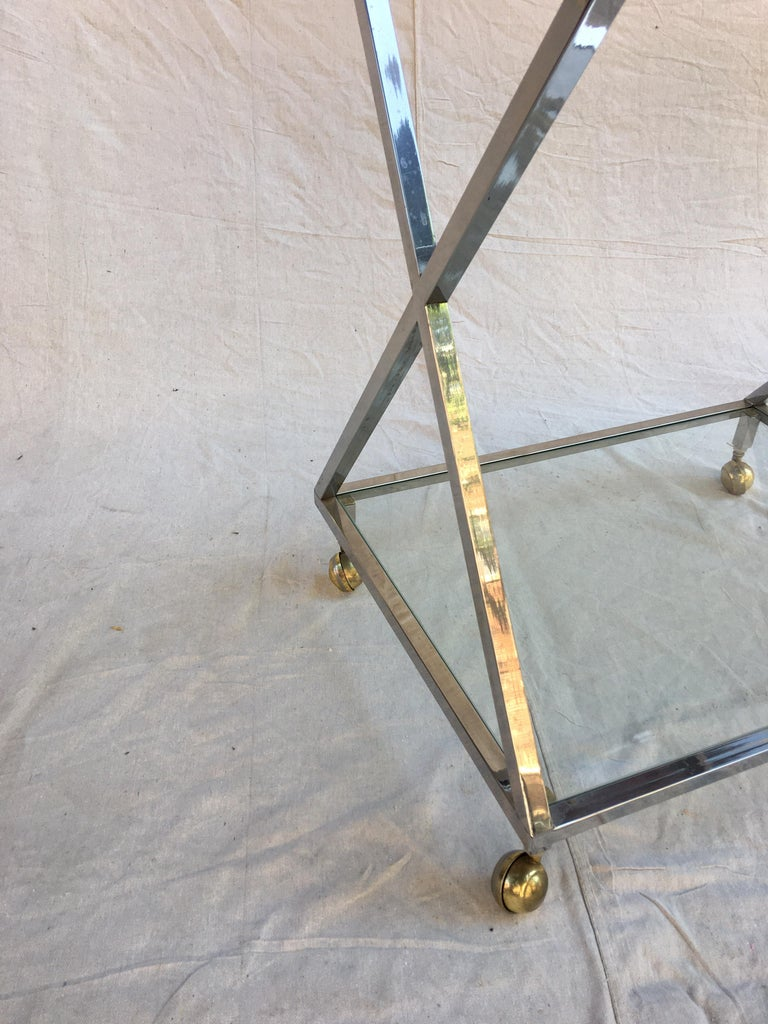 Hollywood Regency Chrome, Glass and Brass Bar Cart For Sale