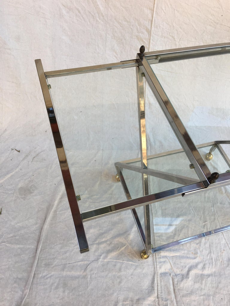 American Chrome, Glass and Brass Bar Cart For Sale