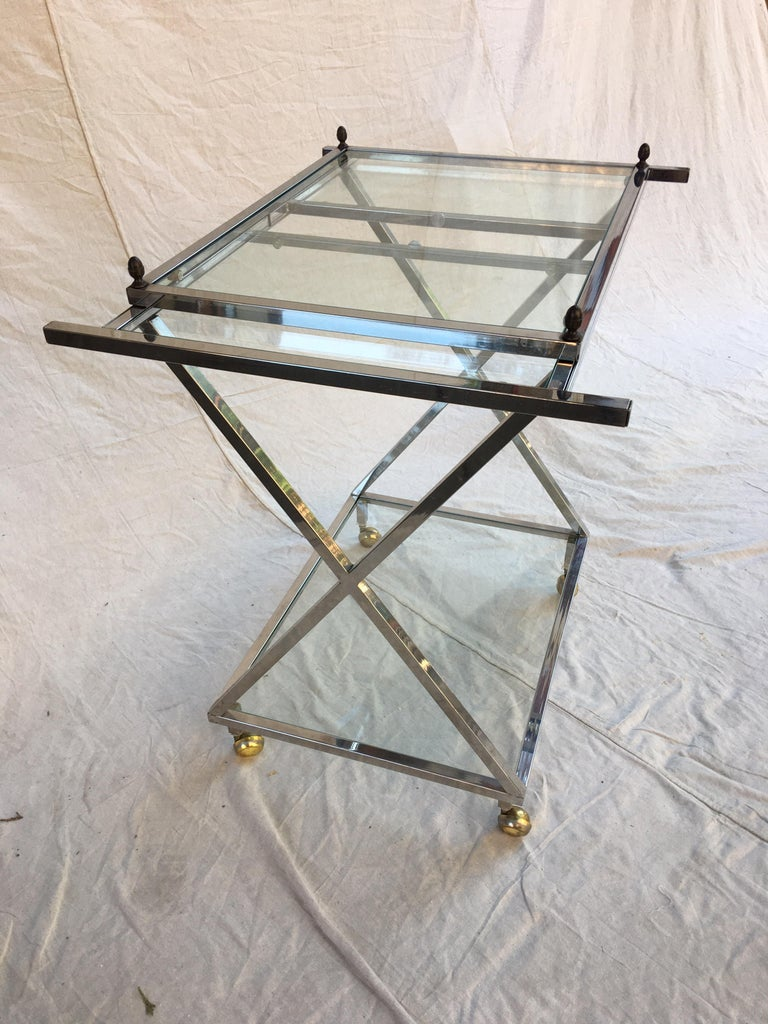 Chrome, Glass and Brass Bar Cart In Good Condition For Sale In Philadelphia, PA