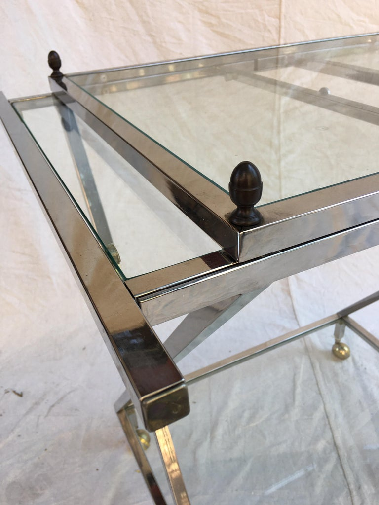Late 20th Century Chrome, Glass and Brass Bar Cart For Sale