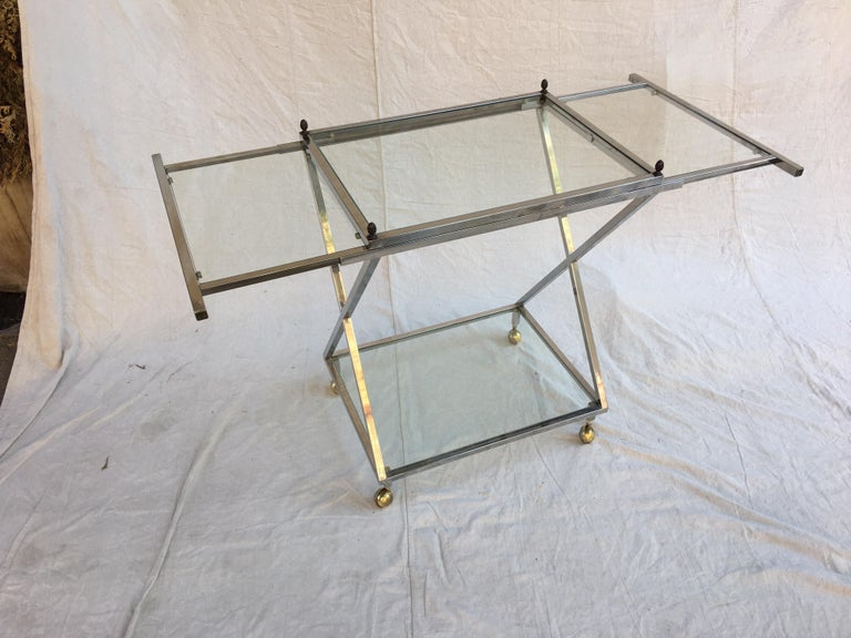 Chrome, Glass and Brass Bar Cart For Sale 1