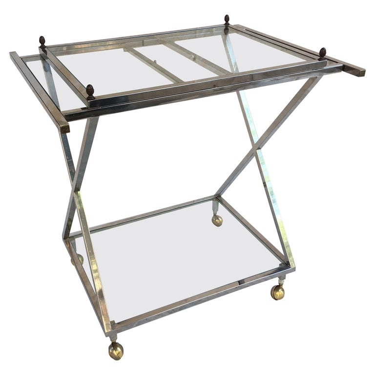Chrome, Glass and Brass Bar Cart For Sale