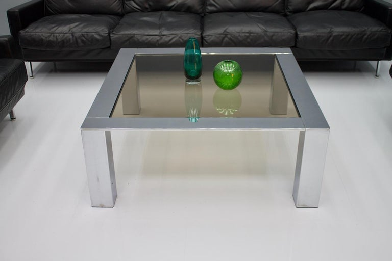Mid-Century Modern Chrome and Glass Coffee Table, 1970s For Sale