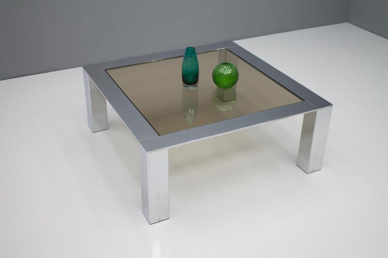 European Chrome and Glass Coffee Table, 1970s For Sale