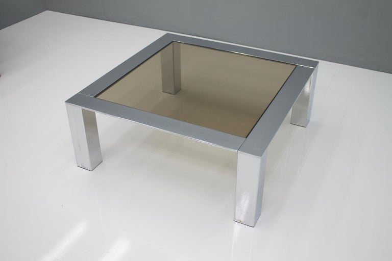 Mid-20th Century Chrome and Glass Coffee Table, 1970s For Sale