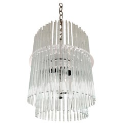 Chrome Glass Rod and Lucite Chandelier by Gaetano Sciolari for Lightolier