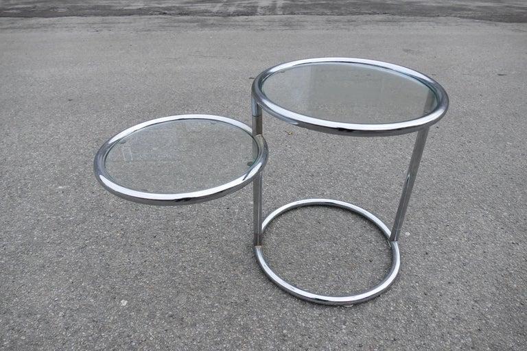 Art Deco Chrome Glass Table, 1970s For Sale