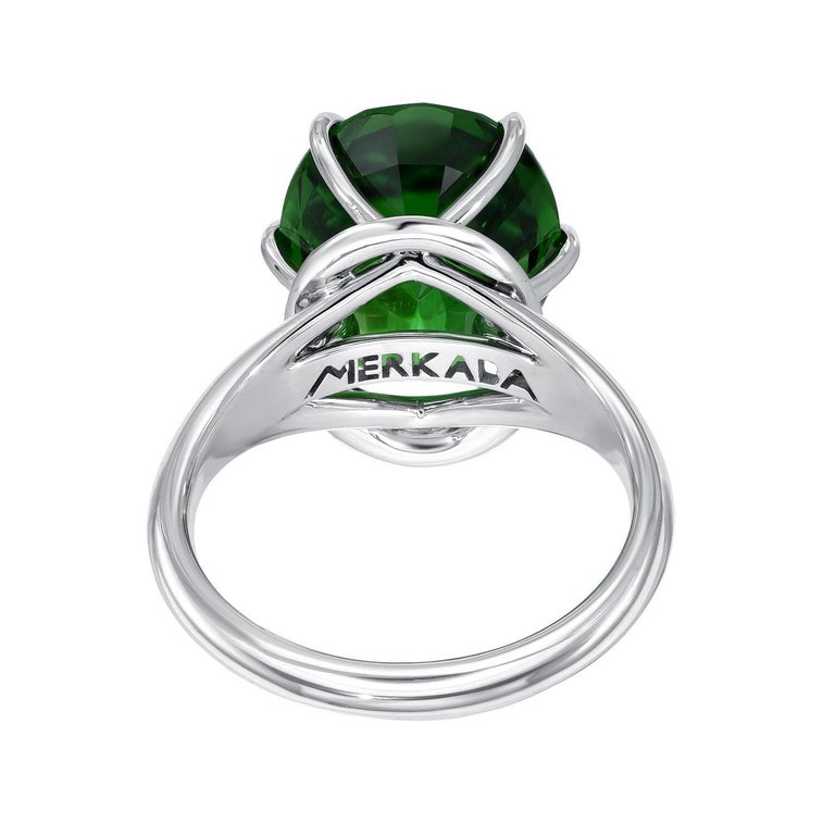 Oval Cut Chrome Green Tourmaline Ring Oval 7.70 Carats GIA Certified For Sale
